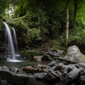 Grotto Falls is located on the Trillium Gap Trail, a popular route to the LeConte Lodge. - LeConte Lodge