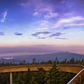 A look back at the beginning of a new day from the Clingmans Dome observation tower. - Clingmans Dome