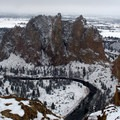 Snowy Smith Rock State Park.- Smith Rock, Misery Ridge Hiking Trail