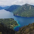View of Lake Crescent and Pyramid Mountain from the top of Mount Storm King- Lake Crescent, Fairholme Beach