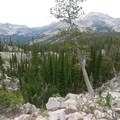 Looking down into Flytrip Creek basin- Middle Fork of the Boise River, Camp Lakes and Flytrip Basin