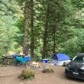 Campsite #3 (parking spot is actually to the left of the picnic table we just decided to put it there) - Sunstrip Campground