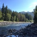 View upstream adjacent to campsite 19.- Graves Creek Campground