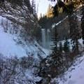Tamanawas Falls from the trail- Tamanawas Falls Snowshoe