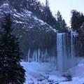 Tamanawas Falls and icy stalactites- Tamanawas Falls Snowshoe