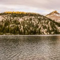 Toxaway Alpenglow Panorama.- Toxaway Lake, Sand Mountain Pass + Snowyside Divide