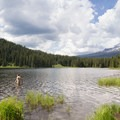 Swimming from our site's lake access- Trillium Lake Campground
