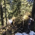 Working our way down the steep terrain- Hanes Valley + Crown Mountain