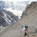 The first section of scree is not especially steep. - Mount Temple Scramble