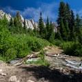 Small stream crossing to Alpine Lake.- Alpine + Sawtooth Lakes, Iron Creek Drainage