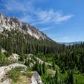 The views down the Iron Creek drainage make the hike worth it on their own.- Alpine + Sawtooth Lakes, Iron Creek Drainage