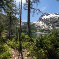Alpine Lake is a small side trail from the main trail to Sawtooth Lake.- Alpine + Sawtooth Lakes, Iron Creek Drainage