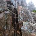 Some of the first iron rungs on the climb up to Beehive Summit- The Beehive Loop Trail