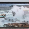 The informational signage describing the how the air pockets create the thunderous sound.- Thunder Hole