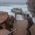 The railings on the viewing deck contributed to my artificial bravery this morning.- Thunder Hole