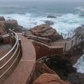A look down from top at the lower viewing deck.- Thunder Hole
