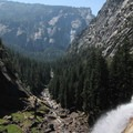 There's a great viewing platform from at the top of Vernal Falls with a great view looking down the canyon.- Half Dome Hike via John Muir Trail