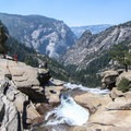 With a slight detour you can reach the spout of Nevada Falls. Be VERY careful if you venture down to the water.- Half Dome Hike via John Muir Trail