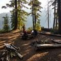 Campsite on the west shore of Indigo Lake.  2018-08-19- Indigo Lake Trail