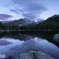 The blue hour at Bear Lake looking towards Longs Peak- Bear Lake Loop Hike