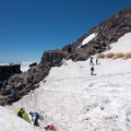 get there early because camp muir can get pretty crowded- Mount Rainier, Disappointment Cleaver Route