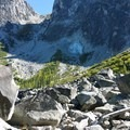 View of Aasgard from the boulder field. Dragontail casts it's massive shadow.- Colchuck Lake Trail