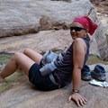 My daughter soaking her feet in Hermit Creek- Hermit Trail