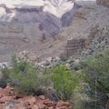 Looking back on Hermit Trail and Colorado River from Cathedral Stairs during hike out.- Hermit Trail