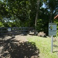 Signage marking the closure of the Wai'anapanapa fresh water caves.- Wai'ānapanapa State Park