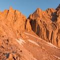 Warm light at sunrise on the 99 Switchbacks- Mount Whitney Hike via Whitney Portal
