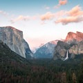 Nice sunset colors at Tunnel View, March 2017.- Tunnel View