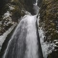 Wahkeena Falls from the footbridge.- Wahkeena Falls/Multnomah Falls Loop Hike