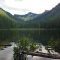 Looking across Pamelia Lake.- Pamelia Lake + Grizzly Peak