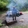 Keeping the mosquitoes away in front of our campfire.- Baker Lake, Shannon Creek Campground