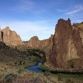 View walking in from the parking lot at about 8:30am. - Smith Rock State Park