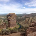 View of Monkey Face from the top of Misery Ridge (panoramic)- Smith Rock, Misery Ridge Hiking Trail