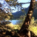 View of the lake from the campsite- Pamelia Lake + Grizzly Peak