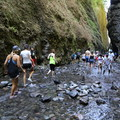 Near the waterfall at the end of the hike. Congestion is much more significant at the log jam near the beginning of the hike in. - Oneonta Gorge
