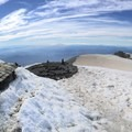 Panoramic from the Mount Adams Summit. Hood on the left and Rainier on the right.- Mount Adams, South Climb