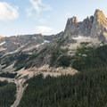 Washington Pass Overlook view to Liberty Bell over the Cascade Loop Highway- Washington Pass Overlook