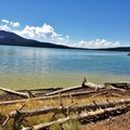 Paulina lake with a faint, green glow from the algae bloom- Paulina Lake Loop Trail + Hot Springs