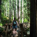 Crossing the footbridge- Lena Lake Hike