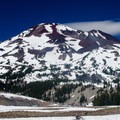 View of South Sister from the trail.- Moraine Lake in the Three Sisters Wilderness