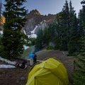 Watching the sun set behind Three-Finger Jack  from our campsite.- Canyon Creek Meadows