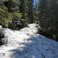 The trail covered in snow- Triangulation Peak + Boca Cave