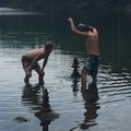 Making Cairns in the lake- Olallie Lake Resort