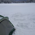 From the snowed-over boat ramp near the campground, looking across the lake.- Trillium Lake Loop Trail