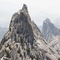 Looking south with climbers on route. Fire smoke hazed up the day.- Matthes Crest Traverse