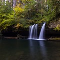 Low flow in early autumn at Upper Butte Creek Falls.- Butte Creek Falls Hike