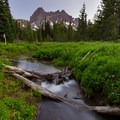 Trail junction to the canyon creek meadows. A campsite lies along the trail here.- Canyon Creek Meadows